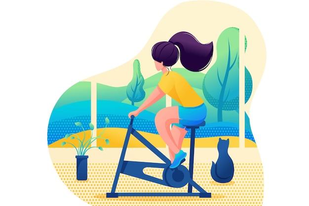 若い女の子は家でスポーツをします。ホームトレーニング。フラットな2dキャラクター。ウェブデザインのコンセプト。