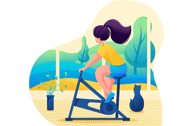 Young girl plays sports at home. home training. flat 2d character. concept for web design. Premium Vector