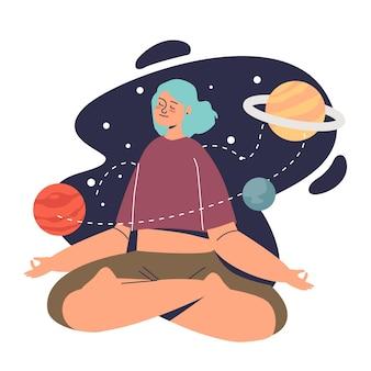 어린 소녀는 명상과 마음챙김 선을 연습합니다. 다리를 꼬고 앉아 공간과 행성 배경 위에 명상하는 차분한 여성. 웰빙과 요가 개념입니다. 만화 평면 벡터 일러스트 레이 션