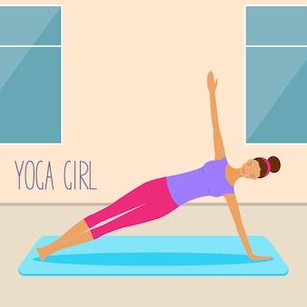 ヨガカードテンプレートを練習している若い女の子