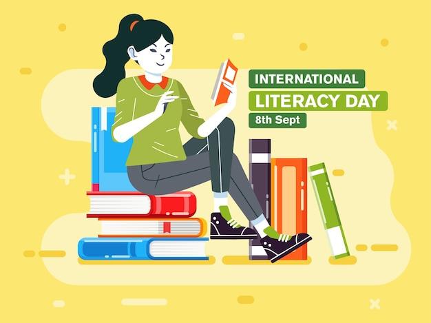 Молодая девушка читает книгу на верхней стопке книг, плакат иллюстрации для иллюстрации международного дня грамотности. используется для плакатов, баннеров и других