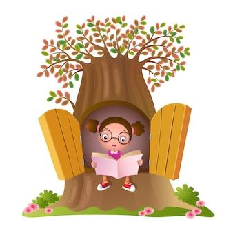 Молодая девушка, читающая книгу