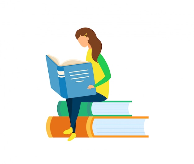 Young girl reading book flat vector illustration