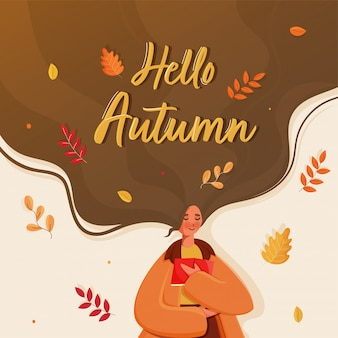 Young girl reading a book with flowing long hair and leaves decorated background for hello autumn.