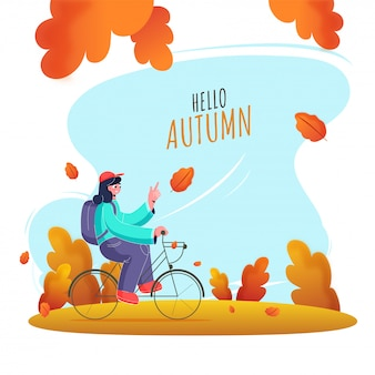 Young girl riding bicycle with a backpack on abstract nature background for hello autumn.