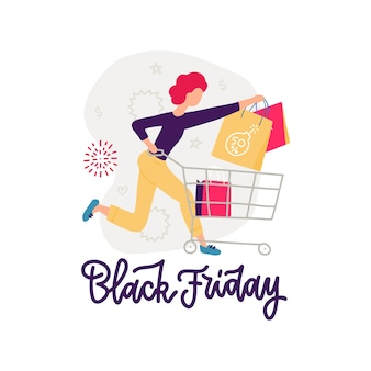 Young girl running for sale. big discounts in stores. opening stores after quarantine. young girl carries a grocery cart.   illustration. black friday lettering banner.