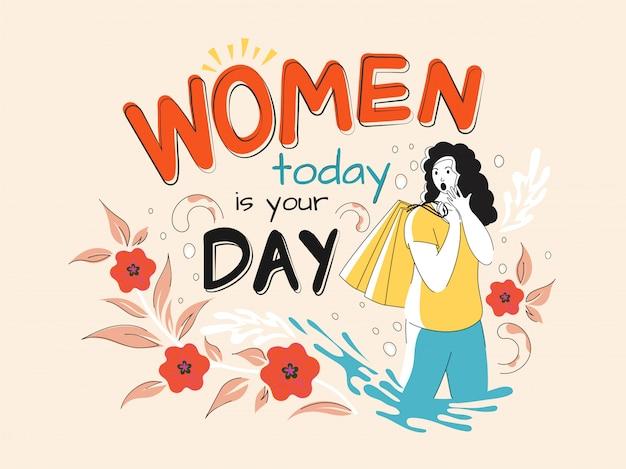 今日の女性と言って若い女の子はあなたの日であり、抽象的な花の背景に買い物袋を保持しています。