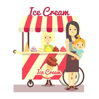 Young girl sells ice cream and mother