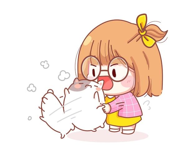 Young girl shake cat cartoon illustration