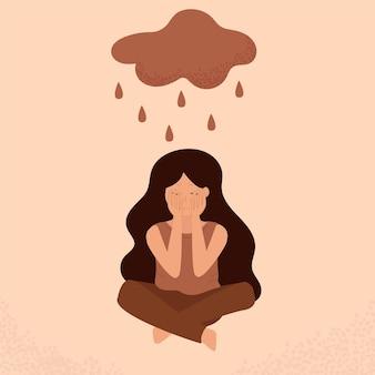 어린 소녀는 바닥에 앉아 손으로 눈물로 얼굴을 가립니다. 우울증, 외로움에 소녀입니다. 정신 장애 또는 질병, 불안, 위기, 눈물, 피로, 상실, 과로, 피로.