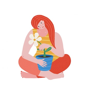アパレルやグリーティングカードのフラワーアーバンプリントデザインと保持している植木鉢を組んで足で座っている若い女の子。