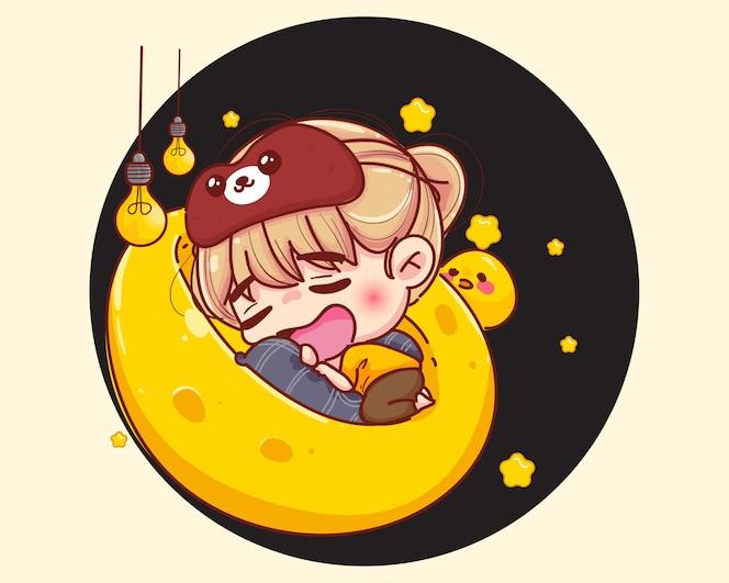 Young girl sleeping on moon cartoon illustration
