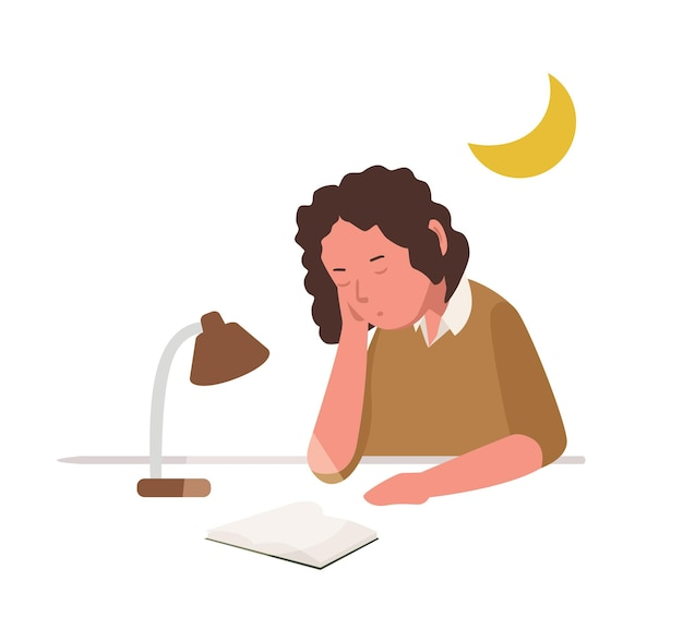Young girl sleeping, slumbering or dozing while reading book or preparing for school lesson, examination or test. cute student or pupil studying hard overnight. flat cartoon vector illustration.