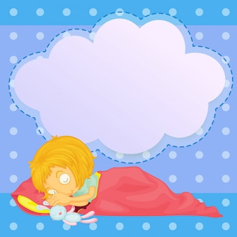 A young girl sleeping with an empty callout