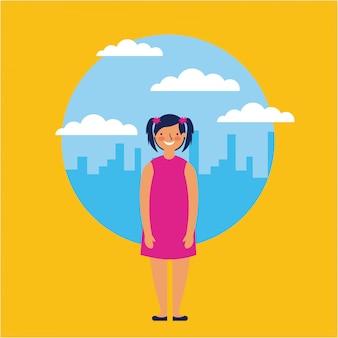 Молодая девушка улыбается над горизонтом, плоский стиль