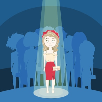 Young girl standing out crowd in spotlight over silhouette people group background