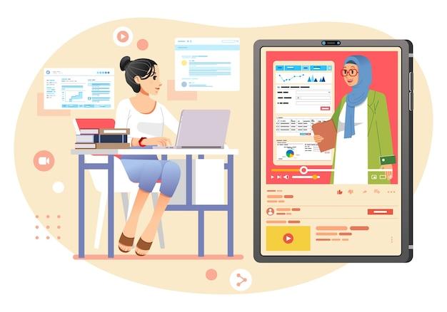 Молодая девушка учится дома в онлайн-классе, учитель объясняет урок через видео. используется для изображения целевой страницы, баннера и прочего