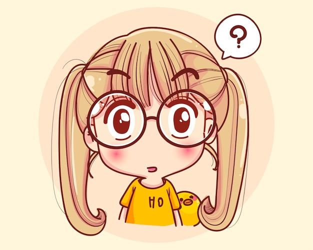 顔を考えて、漫画イラストを不思議に思う少女