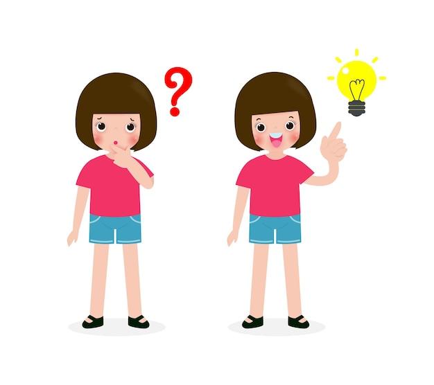 어린 소녀 생각 아이디어, 귀여운 어린이 캐릭터, 포즈 질문 및 흰색 배경 그림에 고립 된 영감