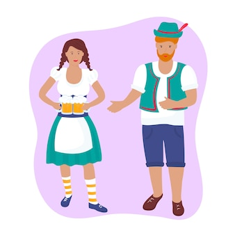 Young girl in a traditional german costume with beer mugs. a guy in shorts, a vest and a hat with a feather. oktoberfest.