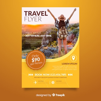 Young girl travel poster template