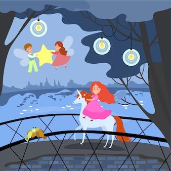 若い女の子のユニコーンに乗る、ファンタジー場所女性男性の妖精が姫の周りを飛ぶし、星の夜の組成図を保持します。