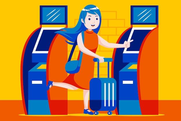 공항에서 셀프 티켓 기계를 사용하는 어린 소녀.