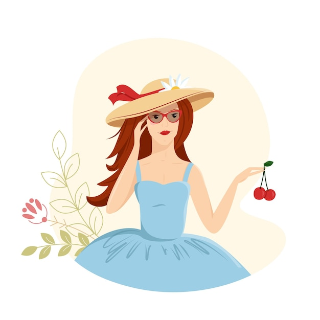 A young girl vacation holds cherries in her hands illustration decorated with leaves and flowers