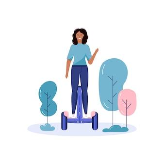 公共の公園で歩いてエコ都市交通を運転する少女。個人用電気輸送、グリーンエレクトロスクーター、ジャイロスクーターまたは自転車。白で隔離される生態学的な乗り物