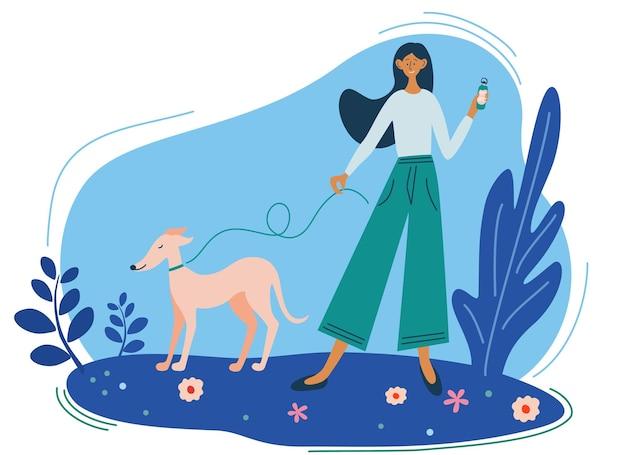 Молодая девушка гуляет с собакой. прогулка на природе. прогулка с собаками. активный отдых в парке. векторная иллюстрация в плоском стиле. симпатичные векторные иллюстрации в плоском стиле.