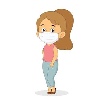 마스크를 쓰고있는 어린 소녀, 코로나 19 보호
