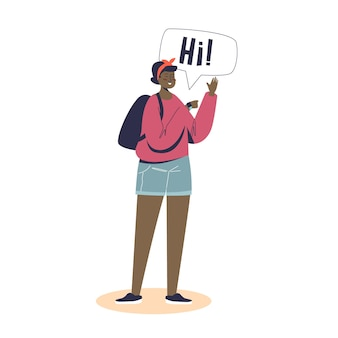 通話やチャットのためにスマートウォッチを身に着けている若い女の子。オンラインワイヤレス接続にタッチスクリーン時計バンドを使用している女性