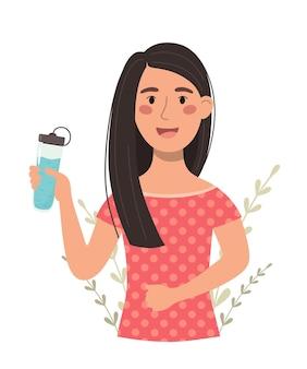 水のボトルを持つ少女