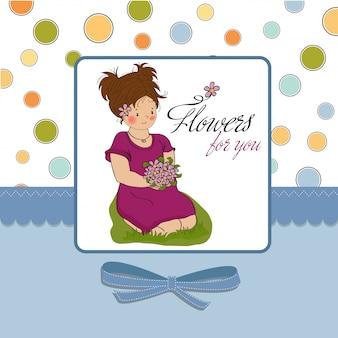 Молодая девушка с букетом цветов