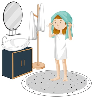 A young girl with bathroom furniture elements on white background