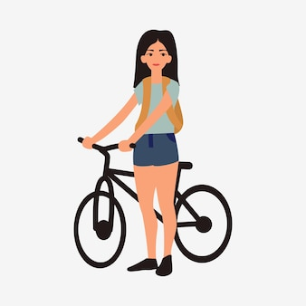 Young girl with bicycle. female flat cartoon characters isolated on white background.