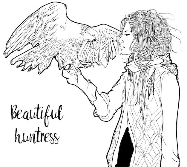 그녀의 손에 큰 독수리와 어린 소녀