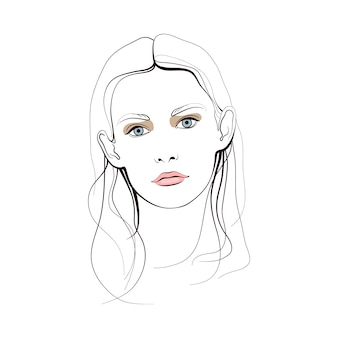 Young girl with blue eyes and long hair. abstract face. fashion illustration.