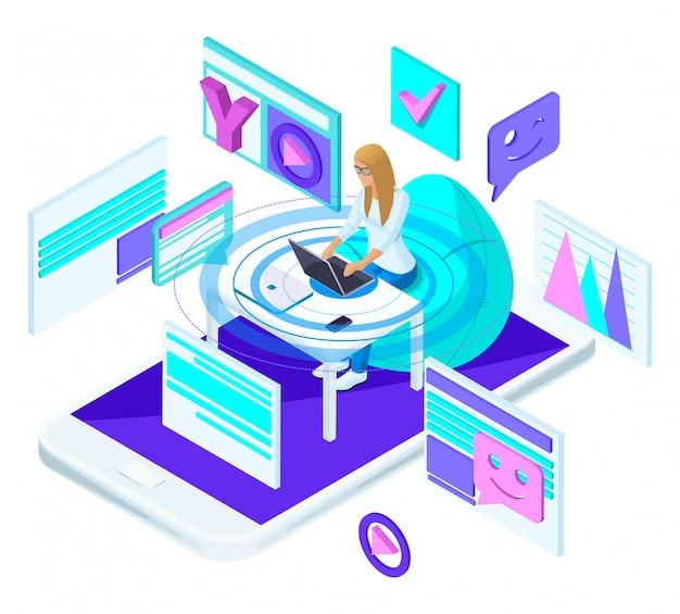 ノートパソコンを持つ若い女の子は、ソーシャルネットワークのブログとビデオの録画です。明るくカラフルな広告コンセプト Premiumベクター