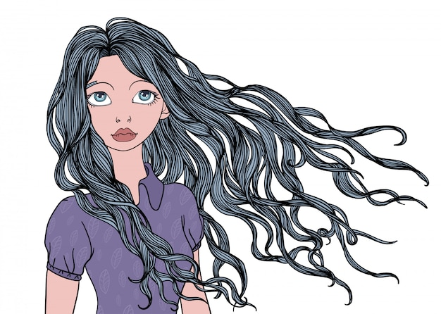 A young girl with long waving in the wind hair.