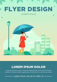 Young girl with orange umbrella flat vector illustration. woman walking in rainy weather in park. city buildings flyer. rain season.