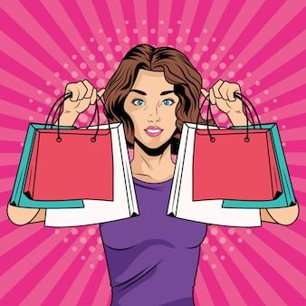 ショッピングバッグポップアートスタイルのキャラクターを持つ少女