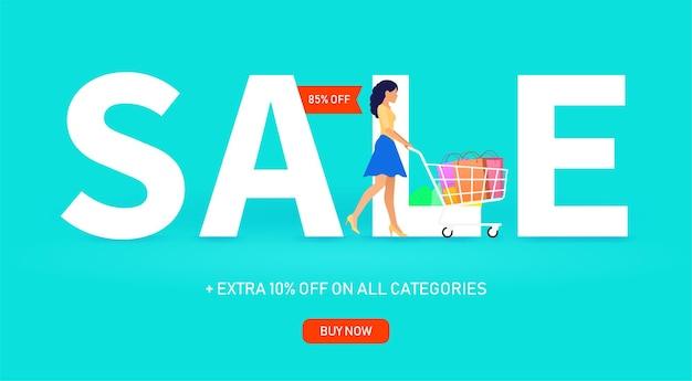 청록색 바탕에 큰 비문 판매 근처 쇼핑 카트와 어린 소녀.