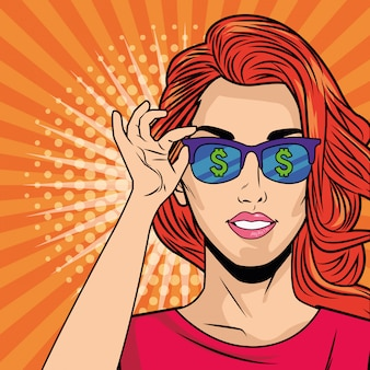 Young girl with sunglasses pop art style character