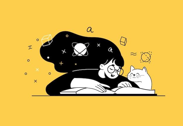 Молодая девушка с кошкой рядом с ней читает и изучает книгу по математике