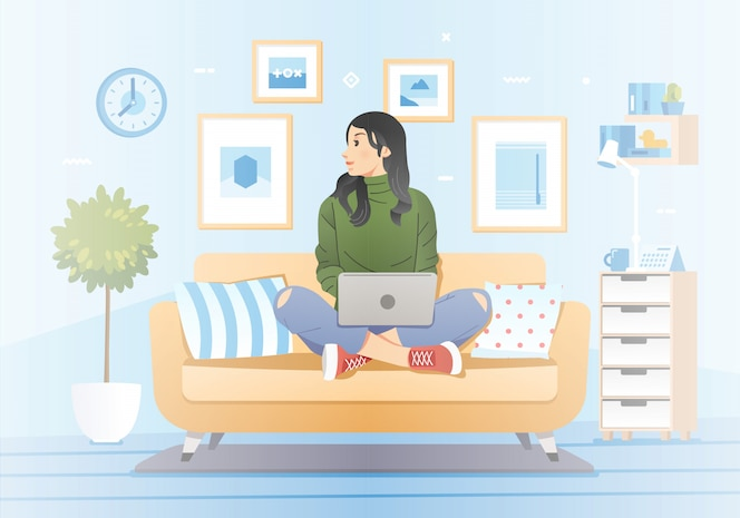 Young girl working at home sitting in couch and laptop on her lap with living room interior as background