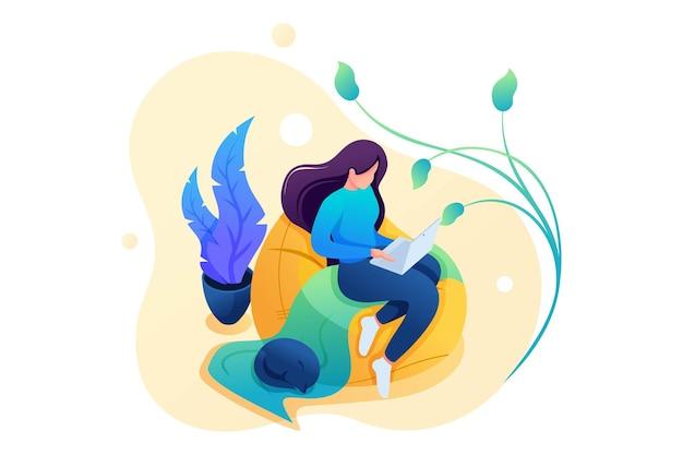 어린 소녀는 집에서 부드러운 의자, 원격 근무, 프리랜서로 일합니다. 플랫 2d 캐릭터. 웹 디자인에 대한 개념입니다.