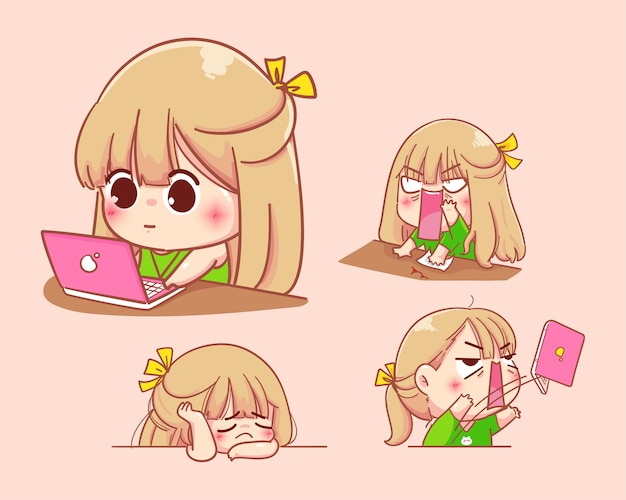 Young girl works on a notebook with various emotions.cartoon set illustration