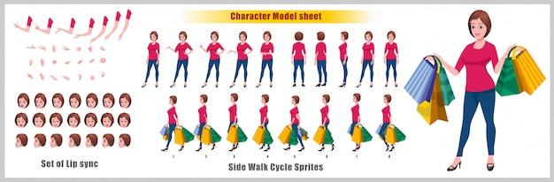 ウォークサイクルアニメーションとリップシンクのあるショッピングyoung girlキャラクターモデルシート