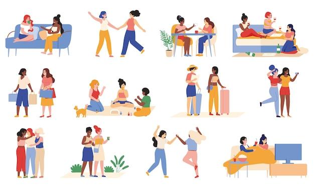 若いガールフレンド。女性の友人は、ウォーキング、チャット、旅行に時間を費やし、女の子のアクティビティを設定します